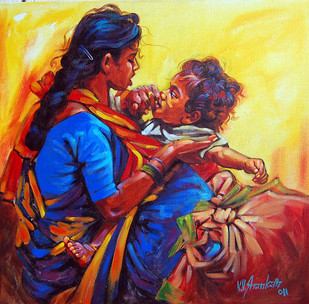 Mother & Child by K V Shankar, Realism Painting, Acrylic on Canvas, Brown color