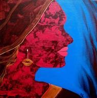 Face - 6 by Puja Sarkar, Pop Art Painting, Acrylic on Canvas, Blue color