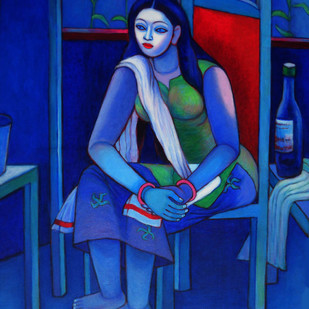 Relaxing by Kalipada Purkait, Decorative Painting, Acrylic on Canvas, Blue color