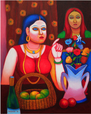 The Lady and Still Life by Kalipada Purkait, Expressionism Painting, Acrylic on Canvas, Brown color