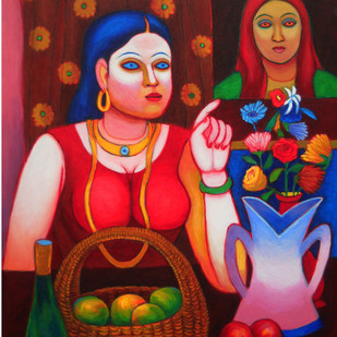 The Lady and Still Life by Kalipada Purkait, Decorative Painting, Acrylic on Canvas, Brown color