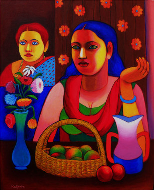 The Lady and Still Life II by Kalipada Purkait, Expressionism Painting, Acrylic on Canvas, Brown color