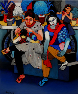 Mothers and Children by Kalipada Purkait, Expressionism Painting, Acrylic on Canvas, Blue color