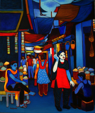 City Life by Kalipada Purkait, Decorative Painting, Acrylic on Canvas, Blue color