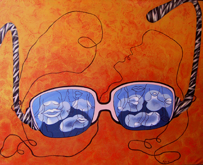 Dreamy Eyes by Puja Sarkar, Pop Art Painting, Acrylic on Canvas, Orange color