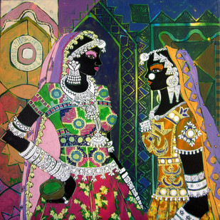 Serene Harmony 47 by Anuradha Thakur, Traditional Painting, Acrylic on Canvas,