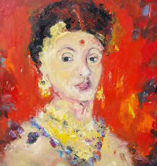 A Portrait by Animesh Roy, Impressionism Painting, Oil on Linen, Red color