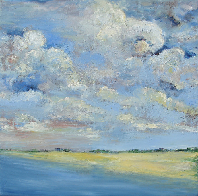 Sky, Land & the Sea by Animesh Roy, Impressionism Painting, Oil on Linen, Cyan color