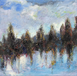 Sky, Land & Water by Animesh Roy, Impressionism , Oil on Linen, Cyan color