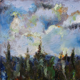 The Sky & the Land-2 by Animesh Roy, Impressionism , Oil on Linen, Gray color