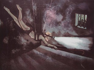 Untitled by Subrat Kumar Behera, Surrealism Printmaking, Lithography on Paper, Brown color
