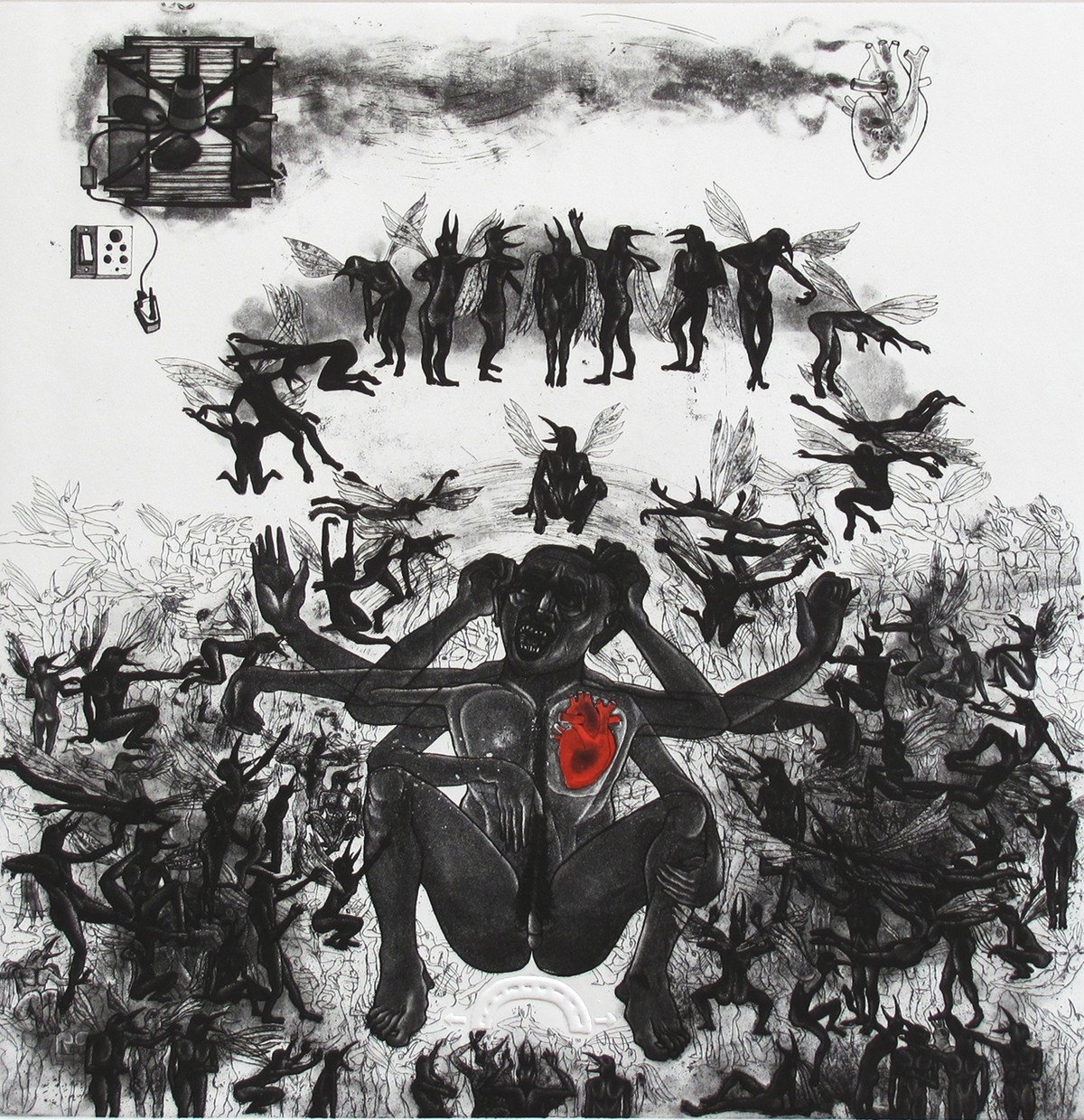 Trapped by Mangesh Kapse, Conceptual Printmaking, Etching on Paper, Gray color