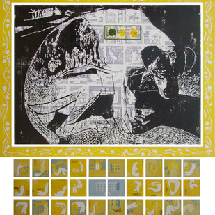 Doggy of Metro City by Mangesh Kapse, Conceptual Printmaking, Etching on Paper, Beige color