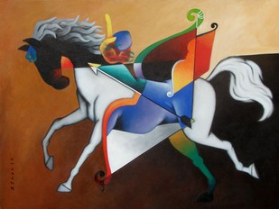 Run Towards the Goal by Rajesh Shah, Fantasy Painting, Acrylic on Canvas, Brown color