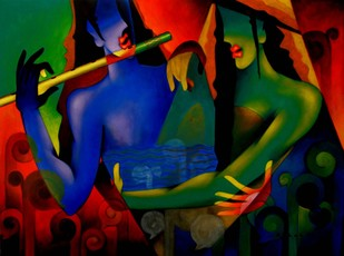 Soulmate by Rajesh Shah, Decorative Painting, Acrylic on Canvas, Blue color