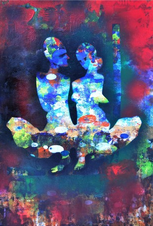 With Him by Poonam Rana, Impressionism Painting, Acrylic on Paper, Blue color