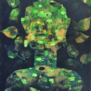 Buddha by Poonam Rana, Abstract Painting, Acrylic on Paper, Green color