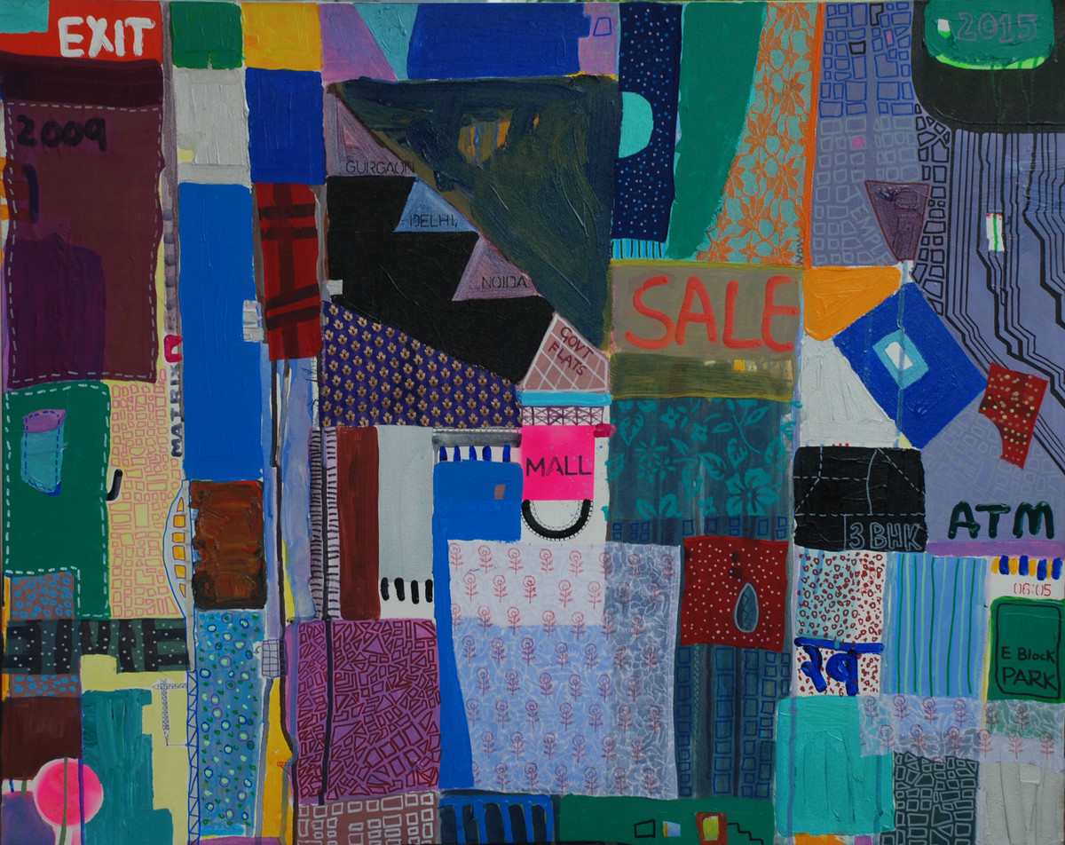 E Block Park by Harpreet Singh, Naive Painting, Acrylic on Canvas, Blue color