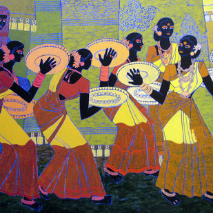 Rhythm of the Seasons 16 by Anuradha Thakur, Traditional Painting, Acrylic on Canvas, Brown color