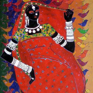 Serene Harmony 29 by Anuradha Thakur, Traditional Painting, Acrylic on Canvas, Brown color