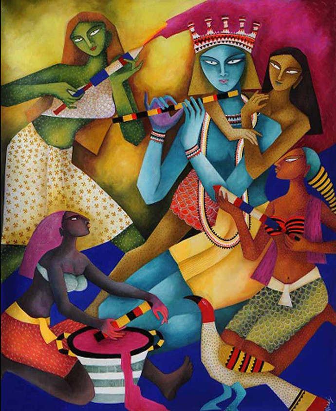 Lord Krishna by Nitai Das, Decorative Painting, Acrylic on Canvas, Brown color