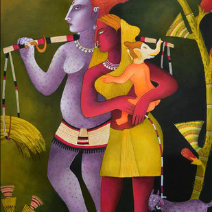 Lord Shiva and Parvati by Nitai Das, Decorative Painting, Acrylic on Canvas, Brown color