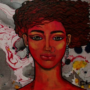Girl in a Breeze by Suruchi Jamkar, Decorative Painting, Oil & Acrylic on Canvas, Brown color