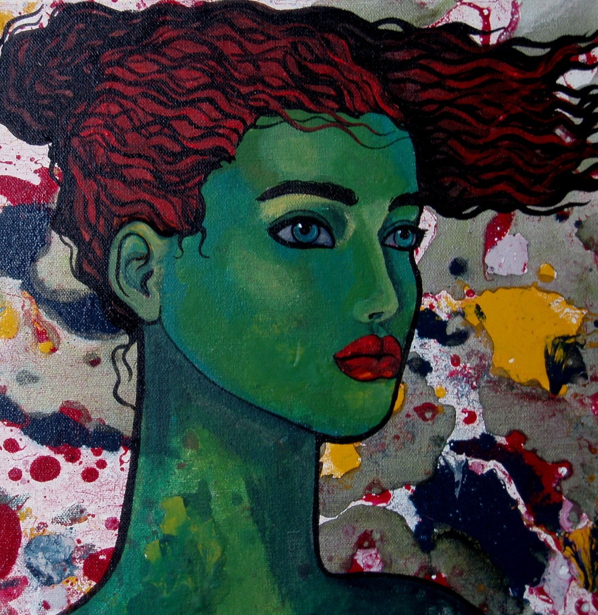 Green girl by Suruchi Jamkar, Decorative Painting, Oil & Acrylic on Canvas, Green color