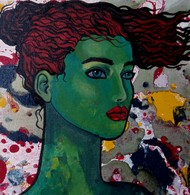 Green girl by Suruchi Jamkar, Decorative Painting, Oil & Acrylic on Canvas, Green color