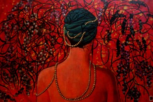 Pearls of wisdom by Suruchi Jamkar, Decorative Painting, Acrylic on Canvas, Brown color