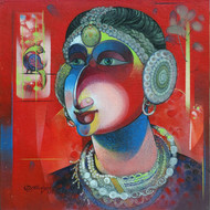 Kutchi Girl with Bird by Devendra.M.Badiger, Decorative Painting, Acrylic on Board, Brown color