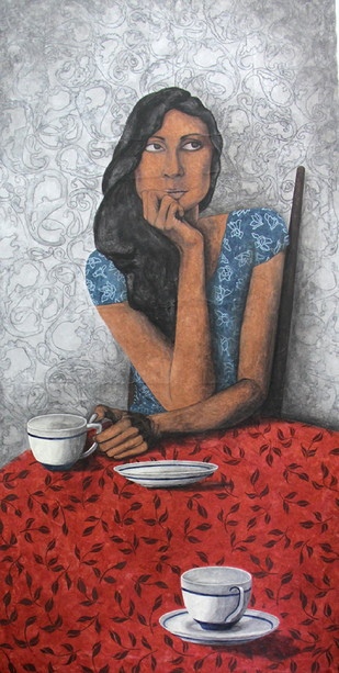 Waiting for Him by Anjan Patra, , , Gray color