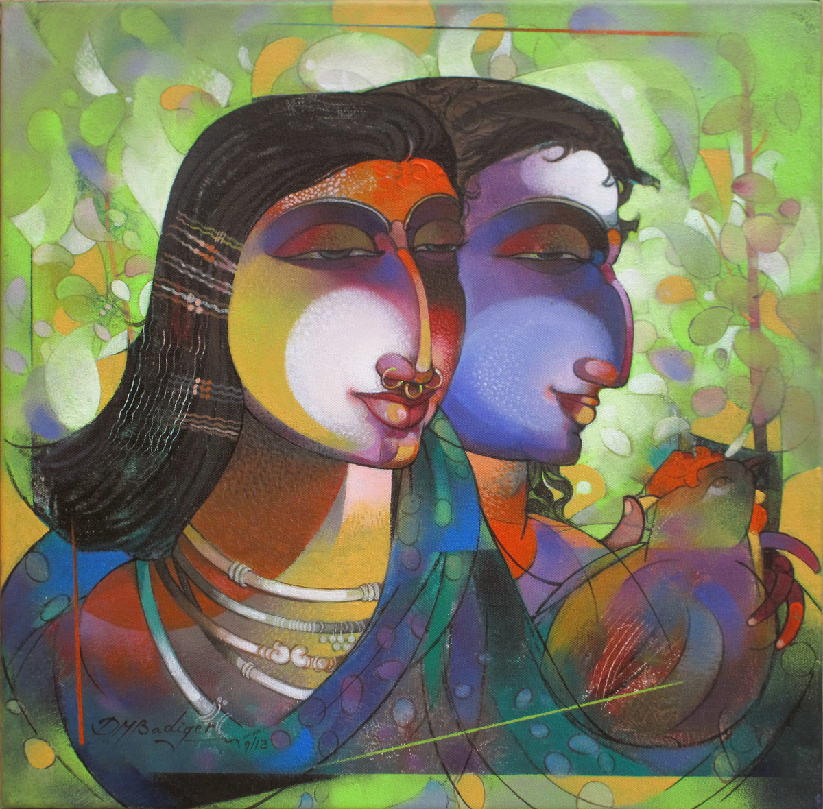 Kutia Kondha Couple by Devendra.M.Badiger, Decorative Painting, Acrylic on Canvas, Green color