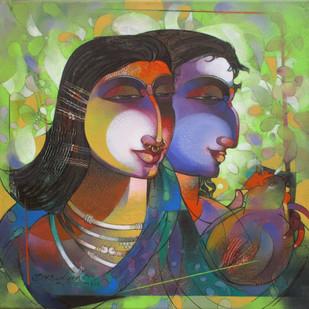 Kutia Kondha Couple by Devendra.M.Badiger, Decorative Painting, Acrylic on Canvas, Green color