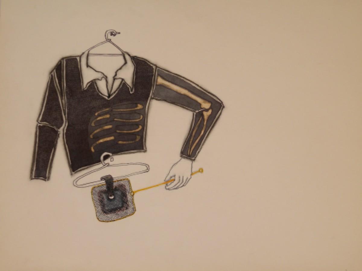 Untitled by Pratik Bakshi, Surrealism Drawing, Mixed Media on Paper, Beige color