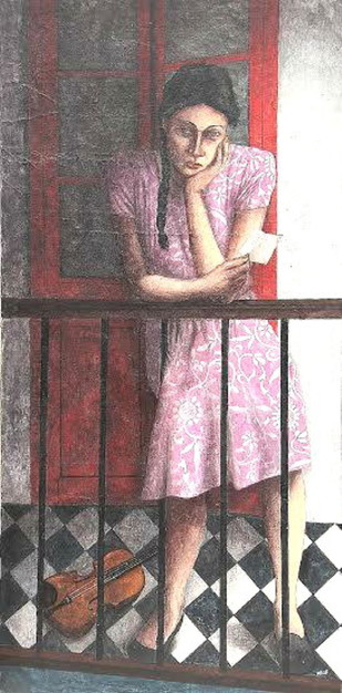 After Receiving the Letter by Anjan Patra, Realism Painting, Tempera on Canvas, Brown color
