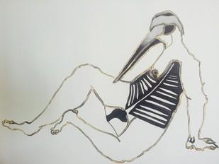 Untitled by Pratik Bakshi, Surrealism Drawing, Mixed Media on Paper, Gray color