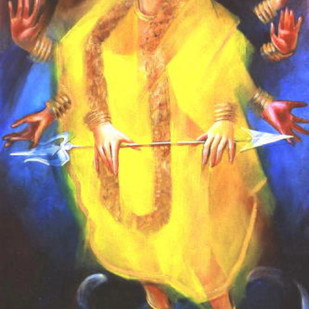 Durga - The Scintillating Goddess by Ujjwal Debnath, Impressionism Painting, Acrylic on Canvas, Brown color