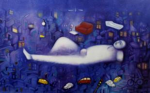 Fursat Ke Raat Din by Ram Partap Verma, Fantasy Painting, Oil & Acrylic on Canvas, Blue color