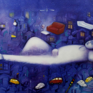 Fursat Ke Raat Din by Ram Partap Verma, Fantasy Painting, Oil & Acrylic on Canvas, Blue color
