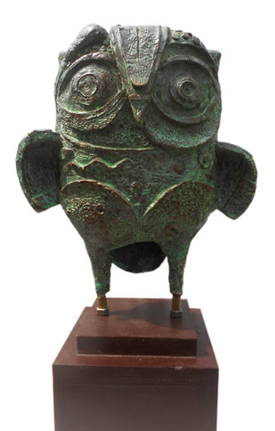 The Owl 04 by Atish Mukherjee, Art Deco Sculpture | 3D, Bronze, White color