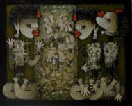 Gossip by Basukinath Dasgupta, Conceptual Painting, Acrylic on Canvas, Green color