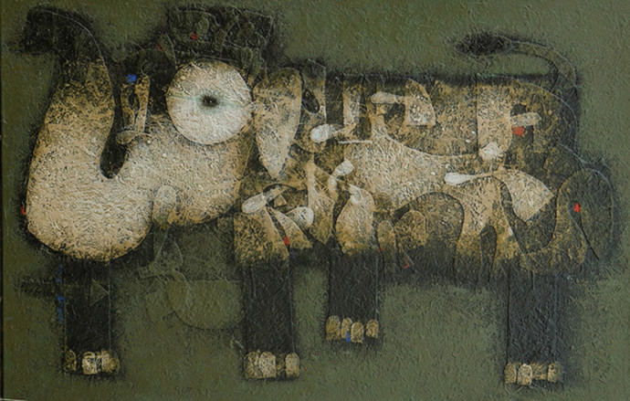 Elephant by Basukinath Dasgupta, Conceptual Painting, Acrylic on Canvas, Green color