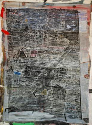 Old Wall by Aditya Sagar, Naive Painting, Mixed Media on Canvas, Gray color