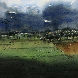 Cloudy Weather by Asim Paul, Impressionism Painting, Watercolor on Paper, Green color