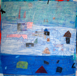 Landscape by Aditya Sagar, Naive Painting, Mixed Media on Canvas, Cyan color