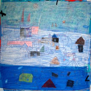 Landscape by Aditya Sagar, Naive Painting, Mixed Media on Canvas, Cyan color