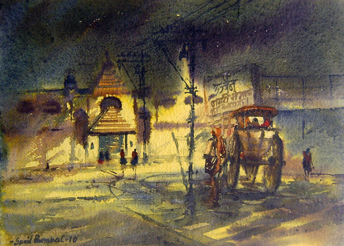 A Night at Ujjain Station by Sunil Bambal, Impressionism Painting, Watercolor on Paper, Brown color