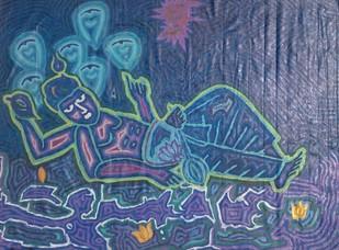 Vishnu by Sharad Bhardwaj , Abstract Painting, Acrylic on Canvas, Blue color