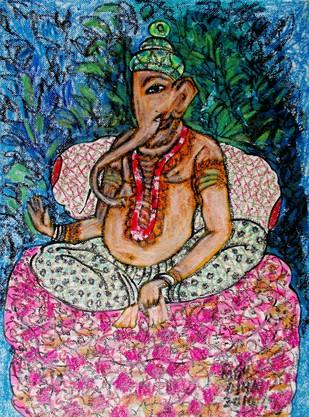 Ganesha Digital Print by Ratnakar Ojha,Naive